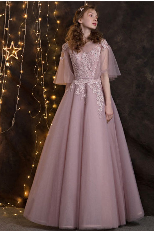 A-line 1/2 Sleeves Lace Applique Long Formal Prom Dresses