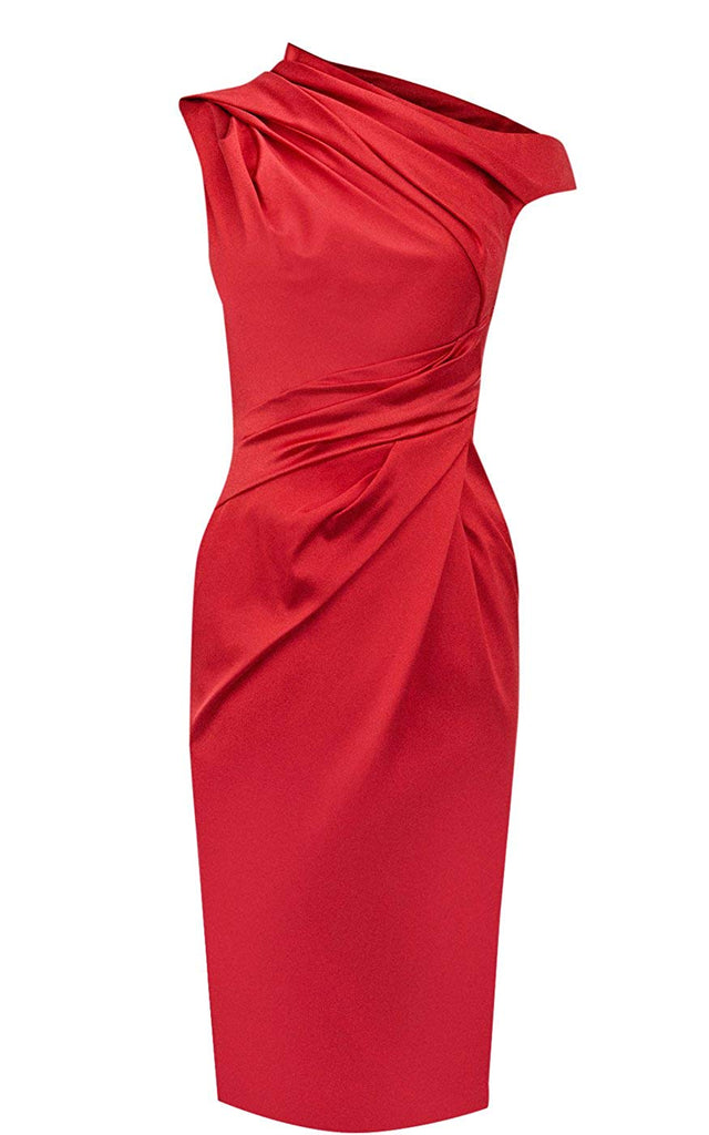Hot-selling Pleated Knee-length Satin Natural One Shoulder Cocktail Dresses