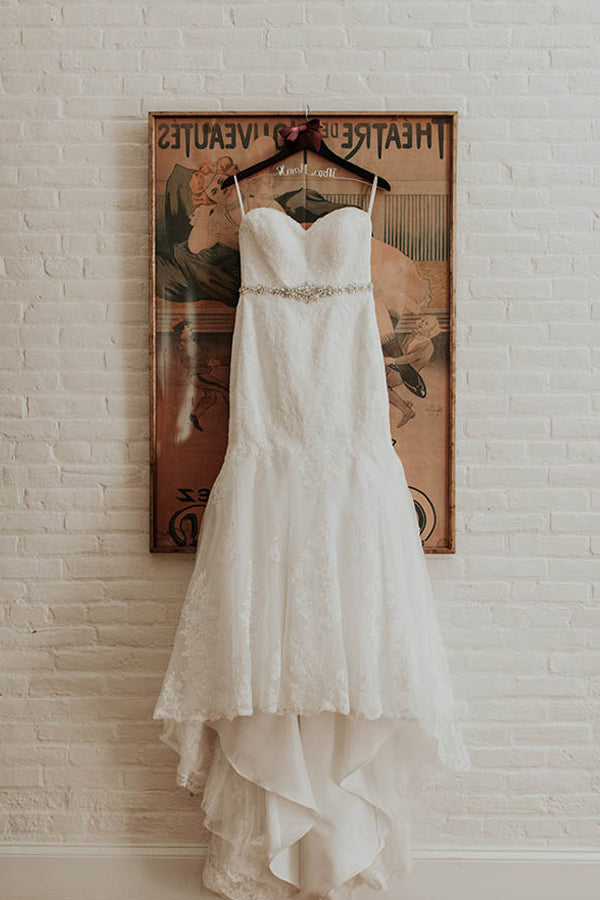 Trumpet/Mermaid Sweetheart Sweep Train Lace Wedding Dresses