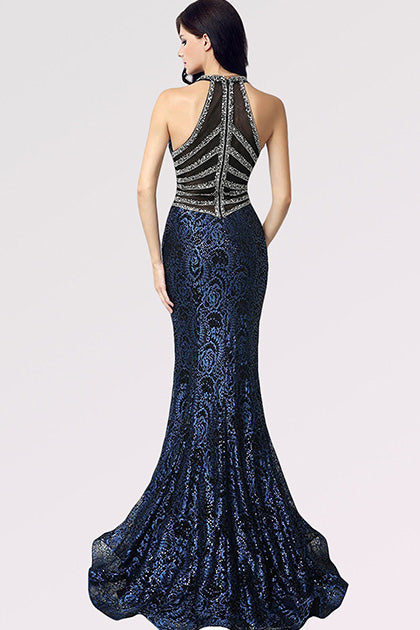 Dark Navy Trumpet/Mermaid V-neck Sleeveless Beading Long Formal Prom Dresses