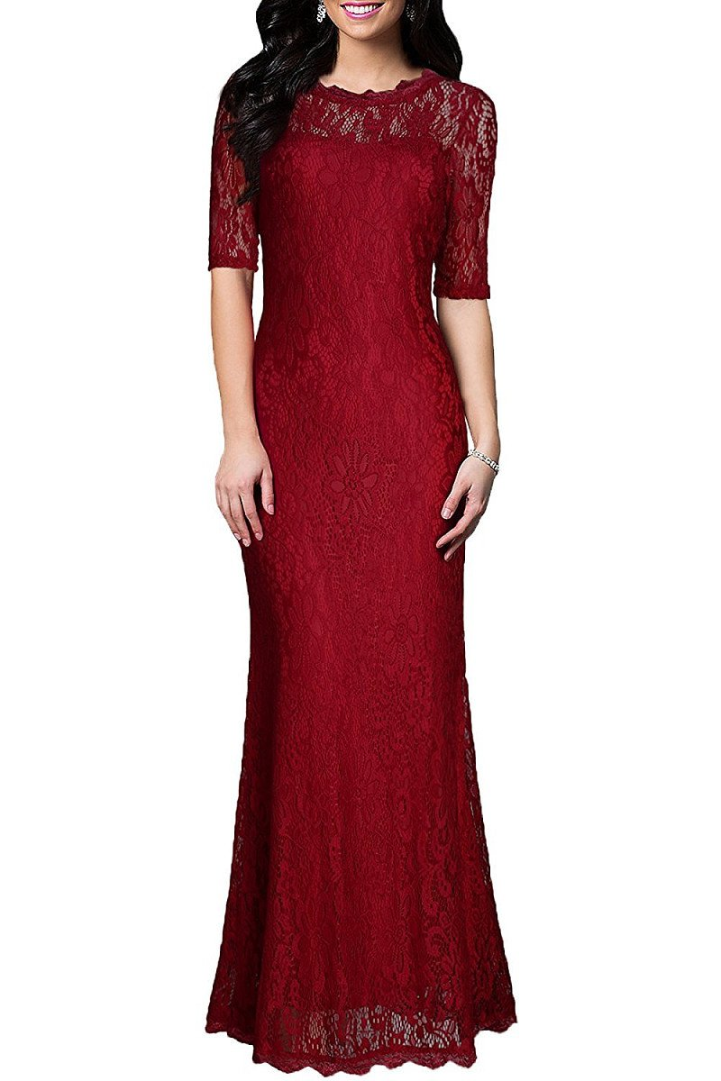 Red Formal Sheath/Column 1/2 Sleeves Long Lace Evening Gown Dresses