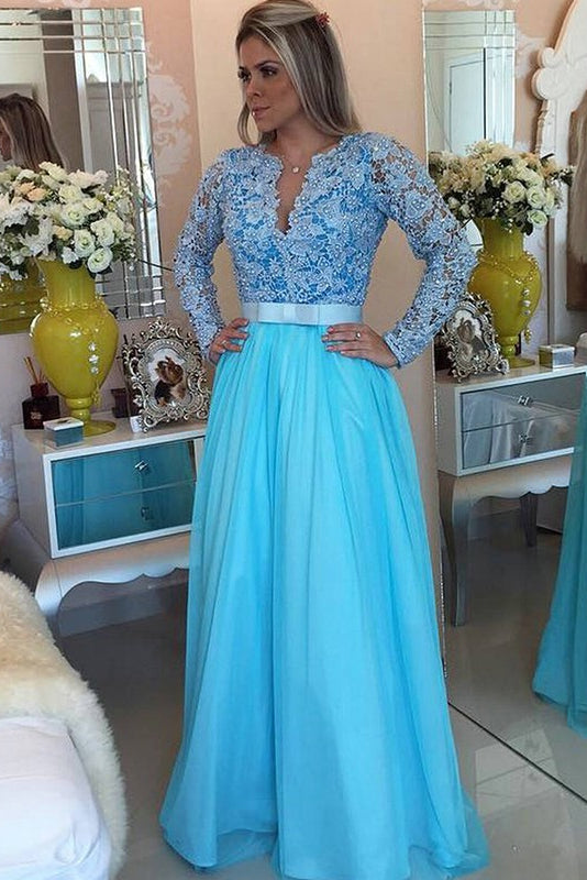 Amazing New-Arrival A-line Long Sleeves V-neck Prom Dresses
