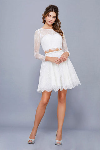 Two-Piece A-line Full/Long Sleeves Short Prom Dresses