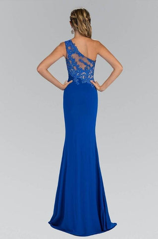 Royal Blue One-shoulder Sheath/Column Lace Applique Split Long Evening Dresses