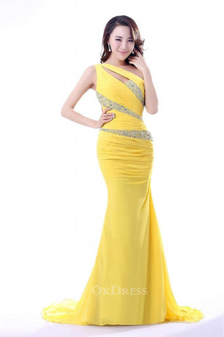 Sheath/Column One-shoulder Beading Pleated Long Chiffon Evening Dresses