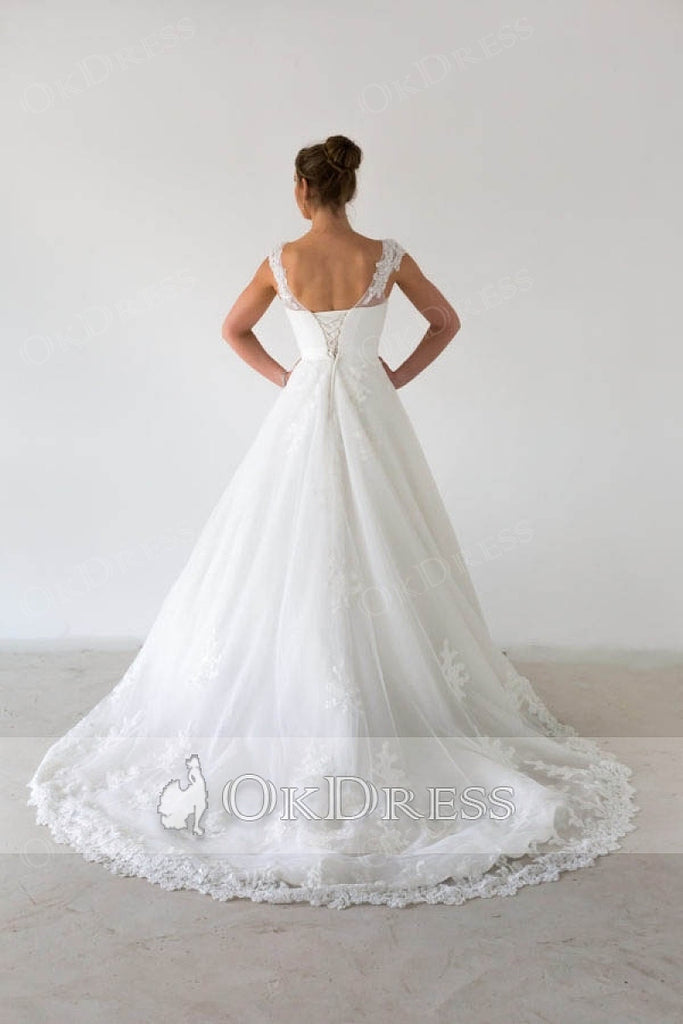 White A-line Sleeveless Illusion Lace Classic Wedding Dresses