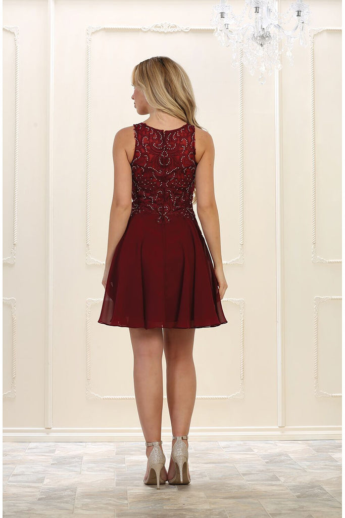 Burgundy A-line Sleeveless Lace Applique Beading Above-knee length Chiffon Prom Dresses