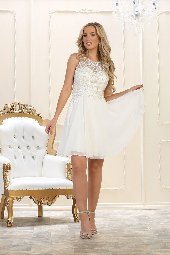 White A-line Sleeveless Lace Applique Beading Above-knee length Chiffon Prom Dresses