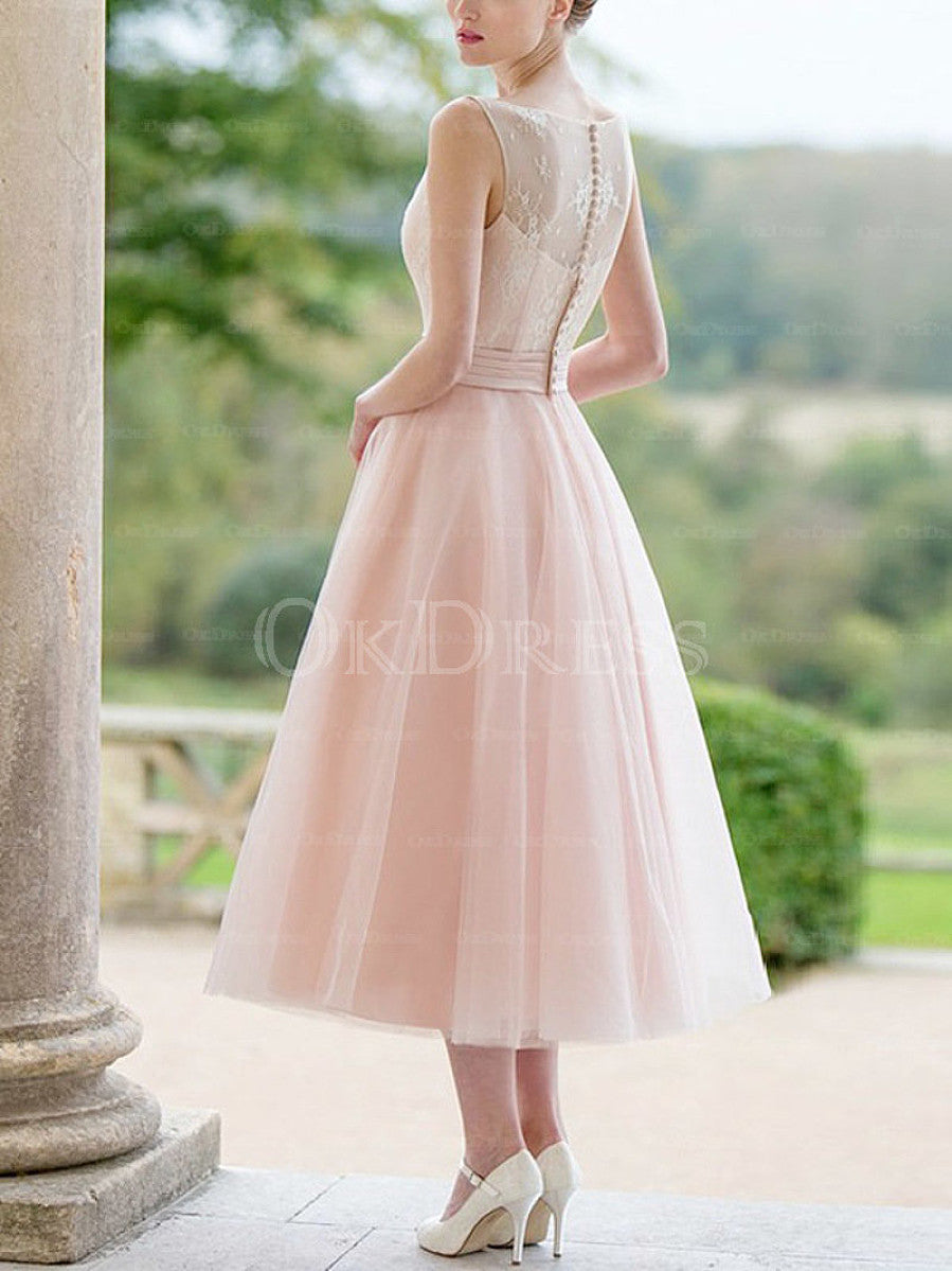 Pink Concise A-line/Princess Lace Tea-length Prom/Bridesmaid Dresses