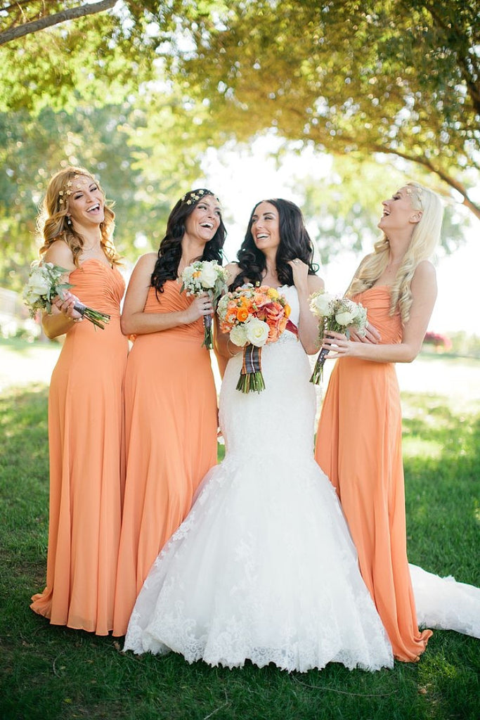 Orange Strapless Sweetheart A-line Long Chiffon Bridesmaid Dresses