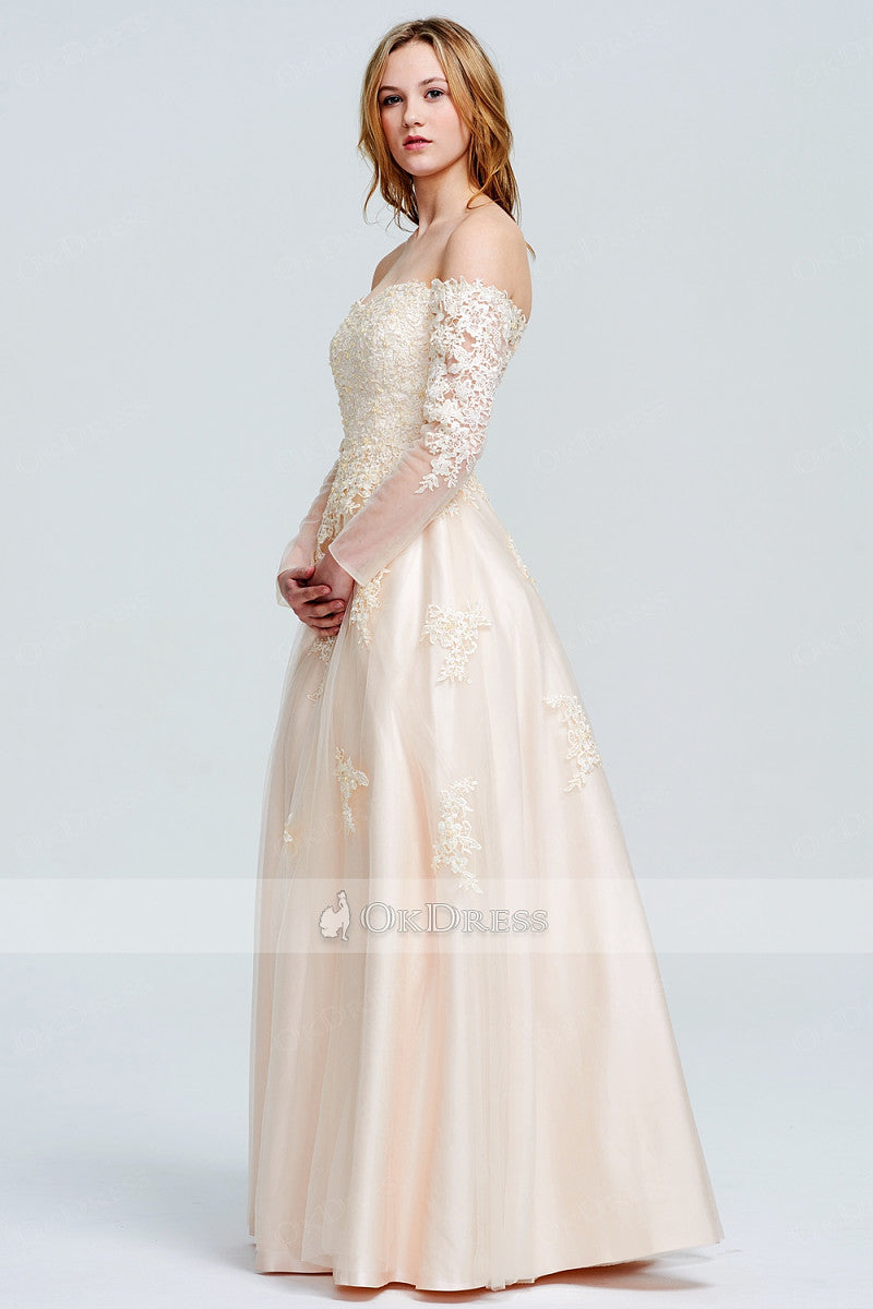 Off-the-Shoulder A-line/Princess Lace Tulle Prom Dresses with Long Sleeves