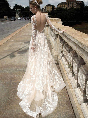 Champagne Decent Chapel Train Full/Long Sleeve Empire Wedding Dresses