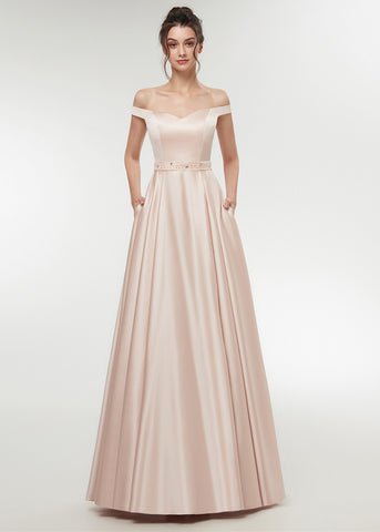 Satin Off-the-shoulder A-line Floor-Length Prom Dress With Beadings