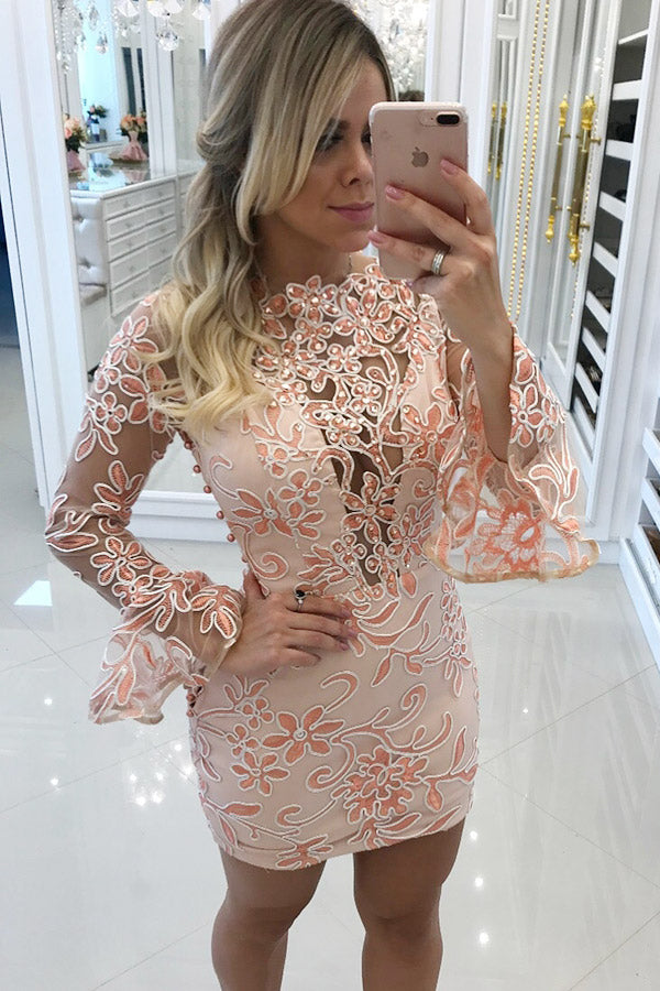 A-Line/Princess Lace Scoop Neck Long Sleeves  Prom Dresses