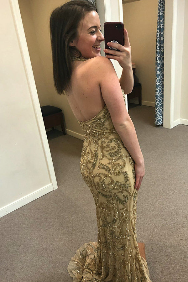 Sexy Trumpet/Mermaid  Sleeveless Halter Prom Dresses