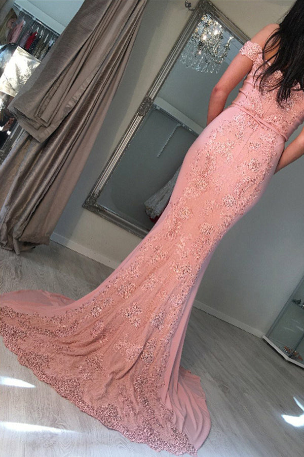 Trumpet/Mermaid Lace Off-the-Shoulder Sweep Train Prom Dresses