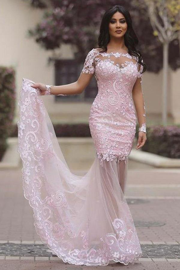 Trumpet/Mermaid Lace Short Sleeves Scoop Neck Prom Dresses