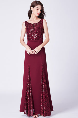 Elegant A-Line/Princess  Sequined Floor-Length Prom Dresses