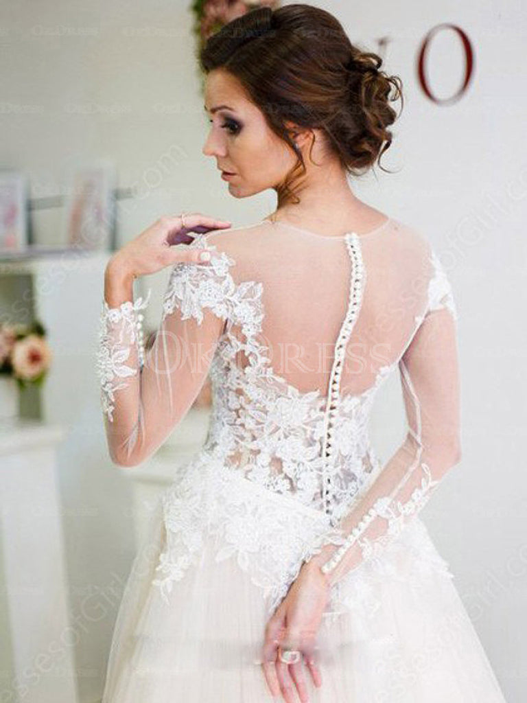 Ivory Fabulous Applique Cowl A-line/Princess Tulle Wedding Dresses