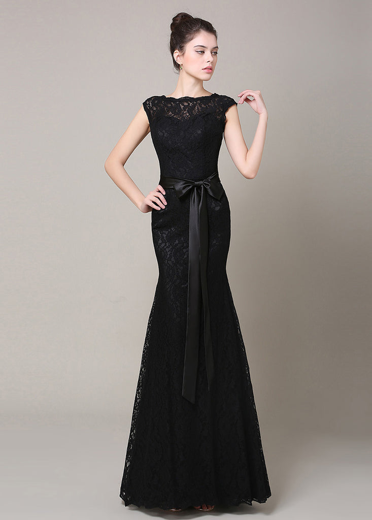 Black Ethereal Trumpet/Mermaid Sleeveless Black Bridesmaid Dresses