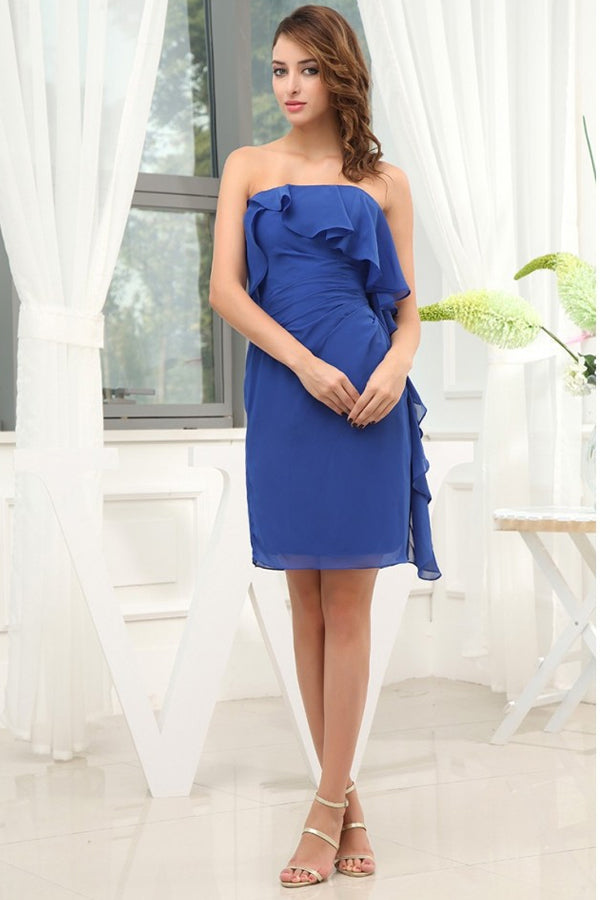 Vintage Sheath Backless Chiffon Bridesmaid Dresses