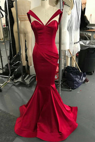 Red Sexy Trumpet/Mermaid Sweetheart Floor-length Prom Dresse