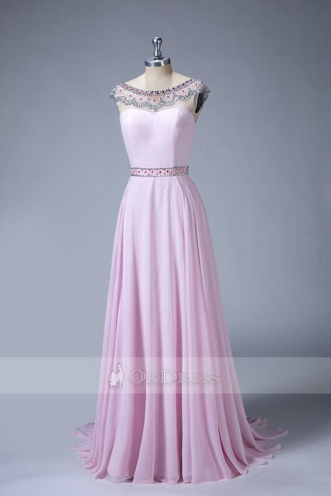 A Line Beading Long Bridesmaid Dresses