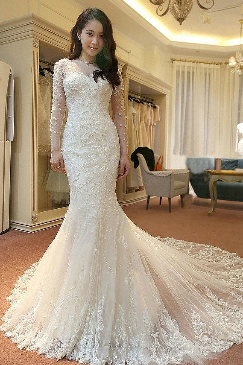 Sleeved Mermaid Bridal Dresses