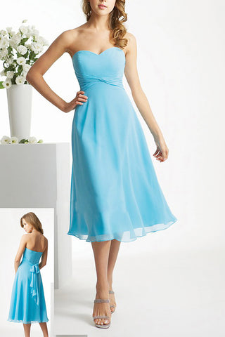 Lovey A-line Sweetheart Strapless Sash Tea-length Chiffon Bridesmaid Dresses