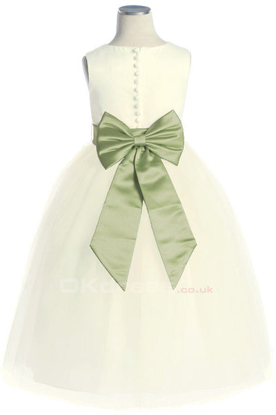 Ivory A-line Tulle Button Flower Girl Dresses