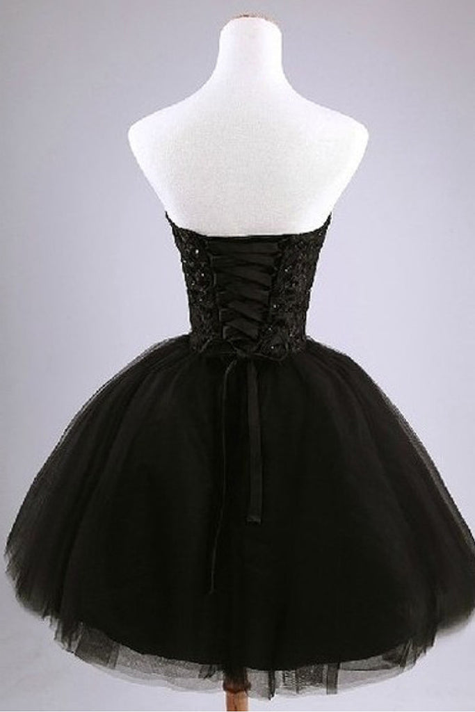 Black Lovely Sweetheart Ball Gown Lace-up Beading Tulle Short Prom Dresses