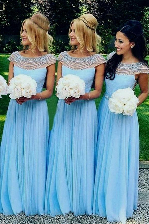Blue Fantastic Beading Cap Sleeves A-line Floor-length Bridesmaid Dresses