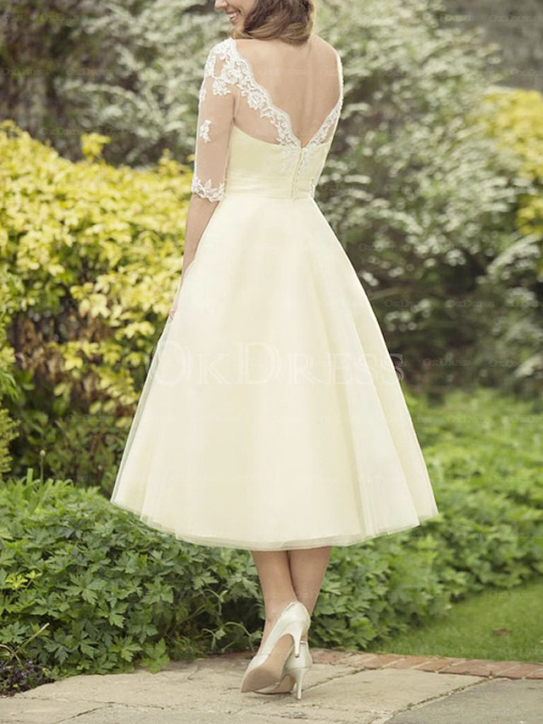 Bravo A-line/Princess 1/2 Sleeves Lace Appliqued Covered Button Bridesmaid Dresses