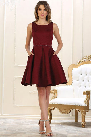 Short Burgundy Satin Cocktail Dresses