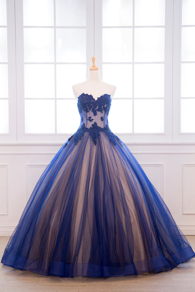 Ball Gown Natural Tulle Applique Sweetheart Sleeveless Prom Dresses