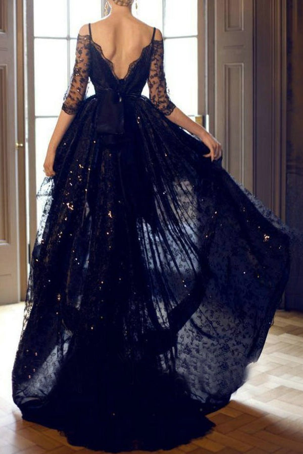 Dark Navy Sweet Zipper Up at Side Waistband Half Sleeve Ball Gown Lace Prom Dresses