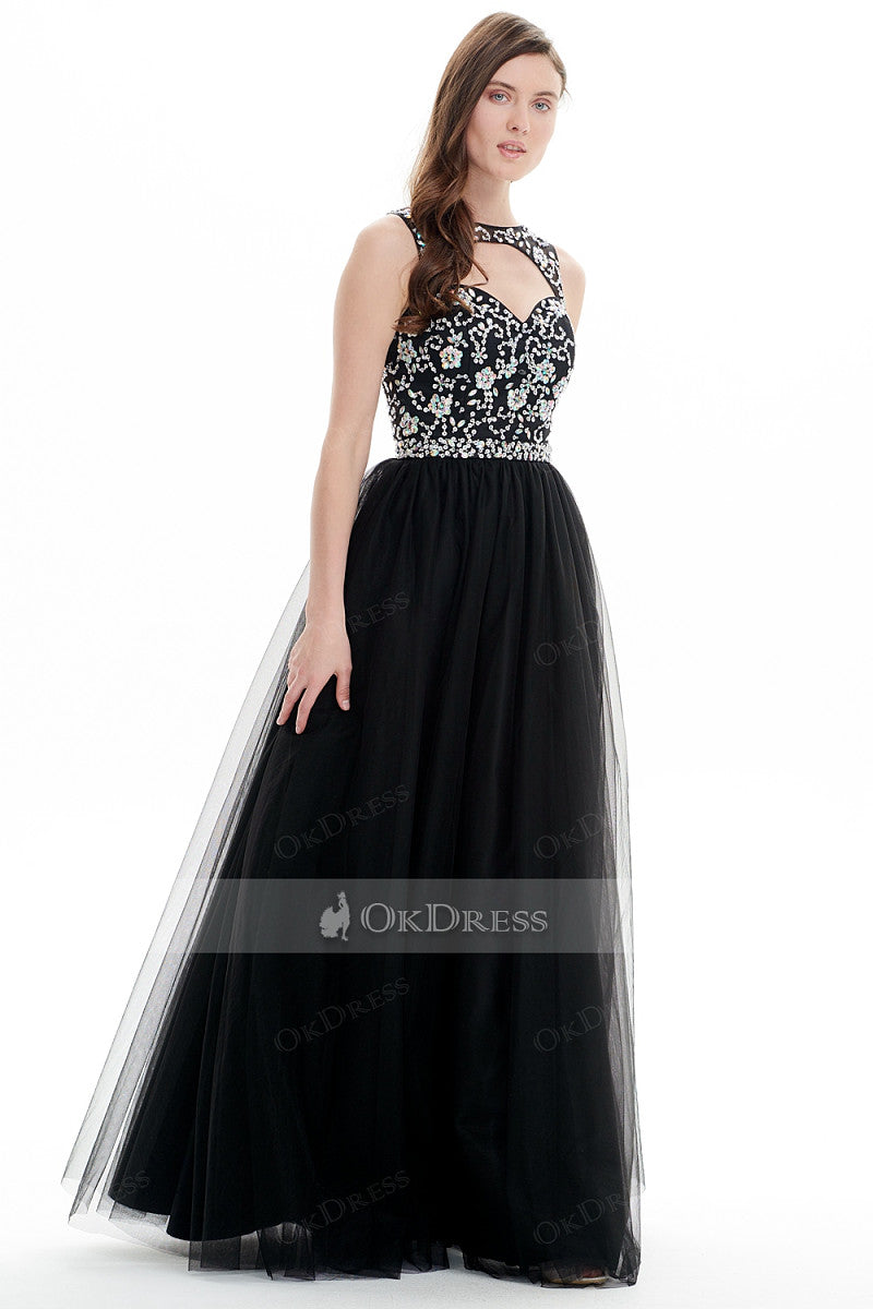 Black Hot Selling A-line Floor-length Bateau Tulle Prom Dresses