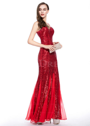 Spaghetti Straps Sleeveless Sheath Long Sequined Evening Dresses