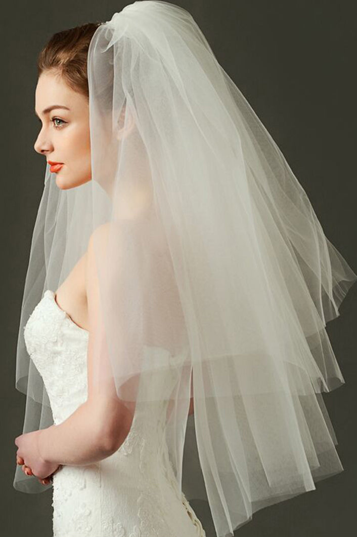 Multi Layers Simple Bridal Veil 80cm*100cm
