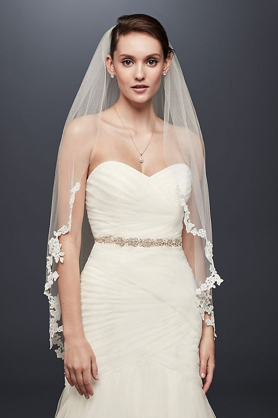 Ivory Bridal Veil with Lace 1m*1m