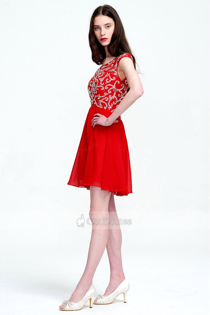 Red Knee-length Illusion UK Prom Dress with Sequins