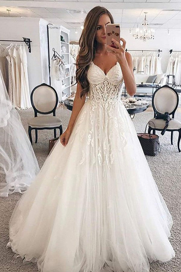 Spaghetti Strap Sleeveless Tulle Floor-Length Appliques Lace Wedding Dresses