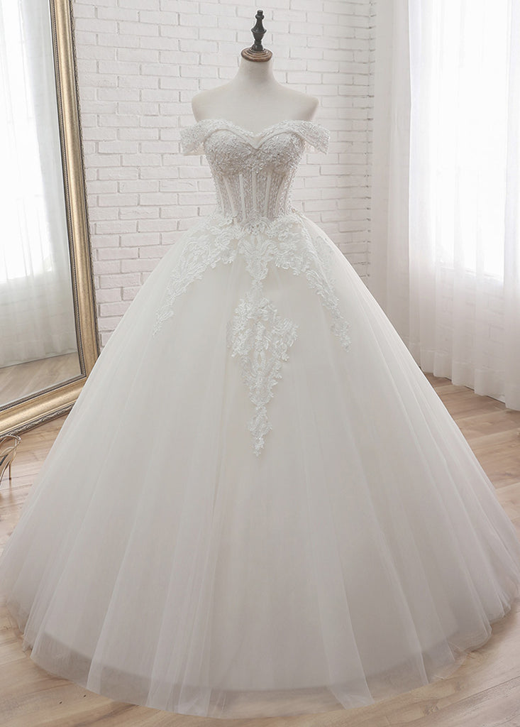 Trumpet/Mermaid Tulle Sweetheart   Appliques Lace Wedding Dresses With Beading