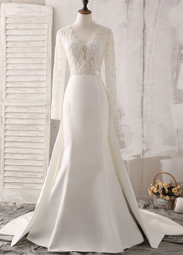 Trumpet/Mermaid Sweep Train Satin Long Sleeves V-neck Wedding Dresses with Beading
