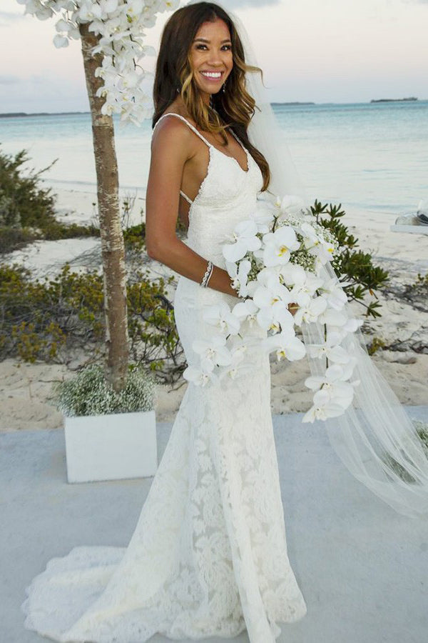 Trumpet/Mermaid Lace Sleeveless Spaghetti Straps Lace Floor-Length Wedding Dress