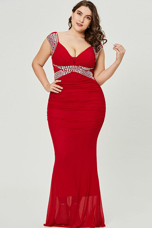 Red Plus Size Pleated Chiffon Floor-Length Prom Dresses with Beading