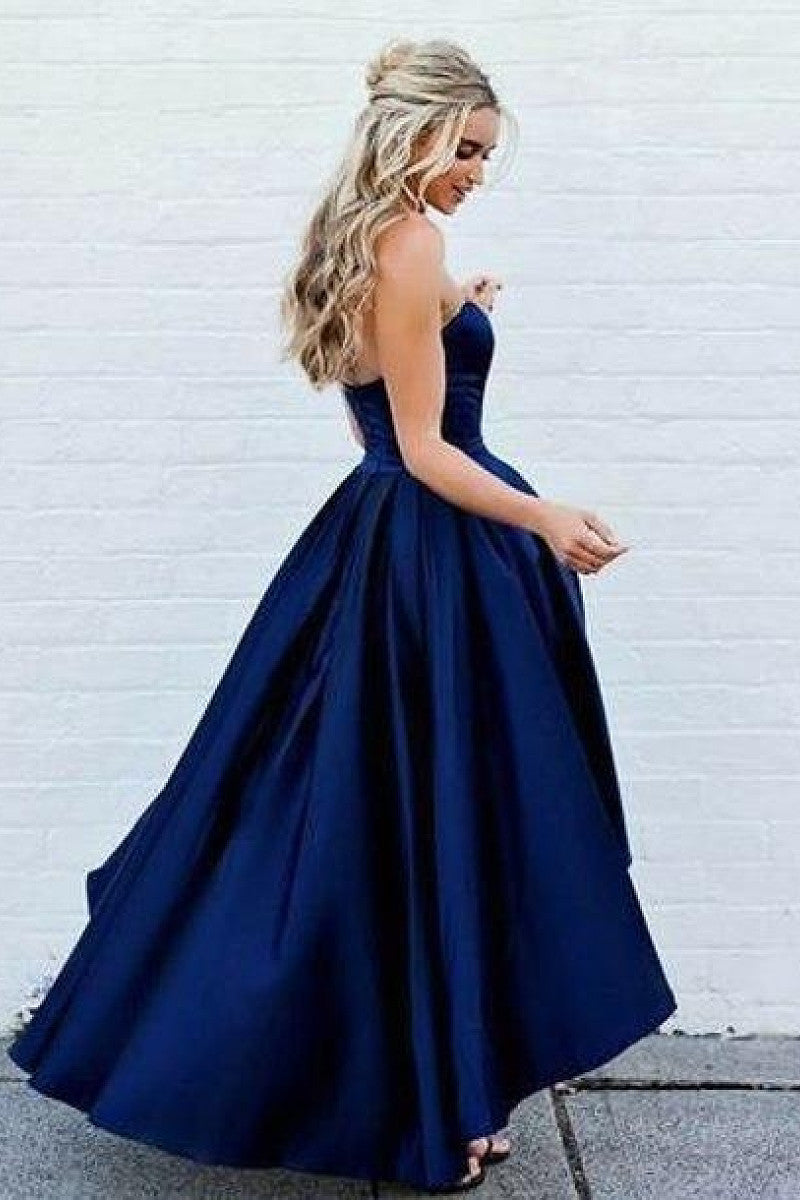Dark Navy Gorgeous Asymmetrical High-low A-line/Princess Sweetheart Satin Prom Dresses