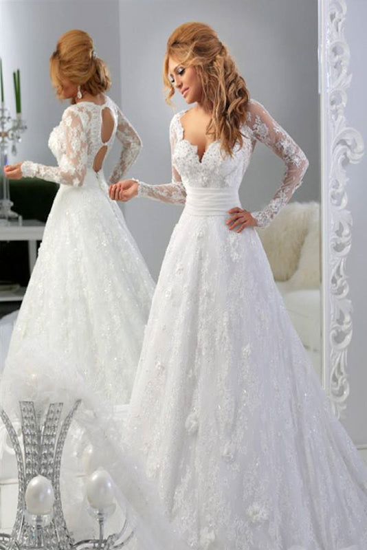 White Retro A-line Long Sleeves Court Train Lace Wedding Dresses