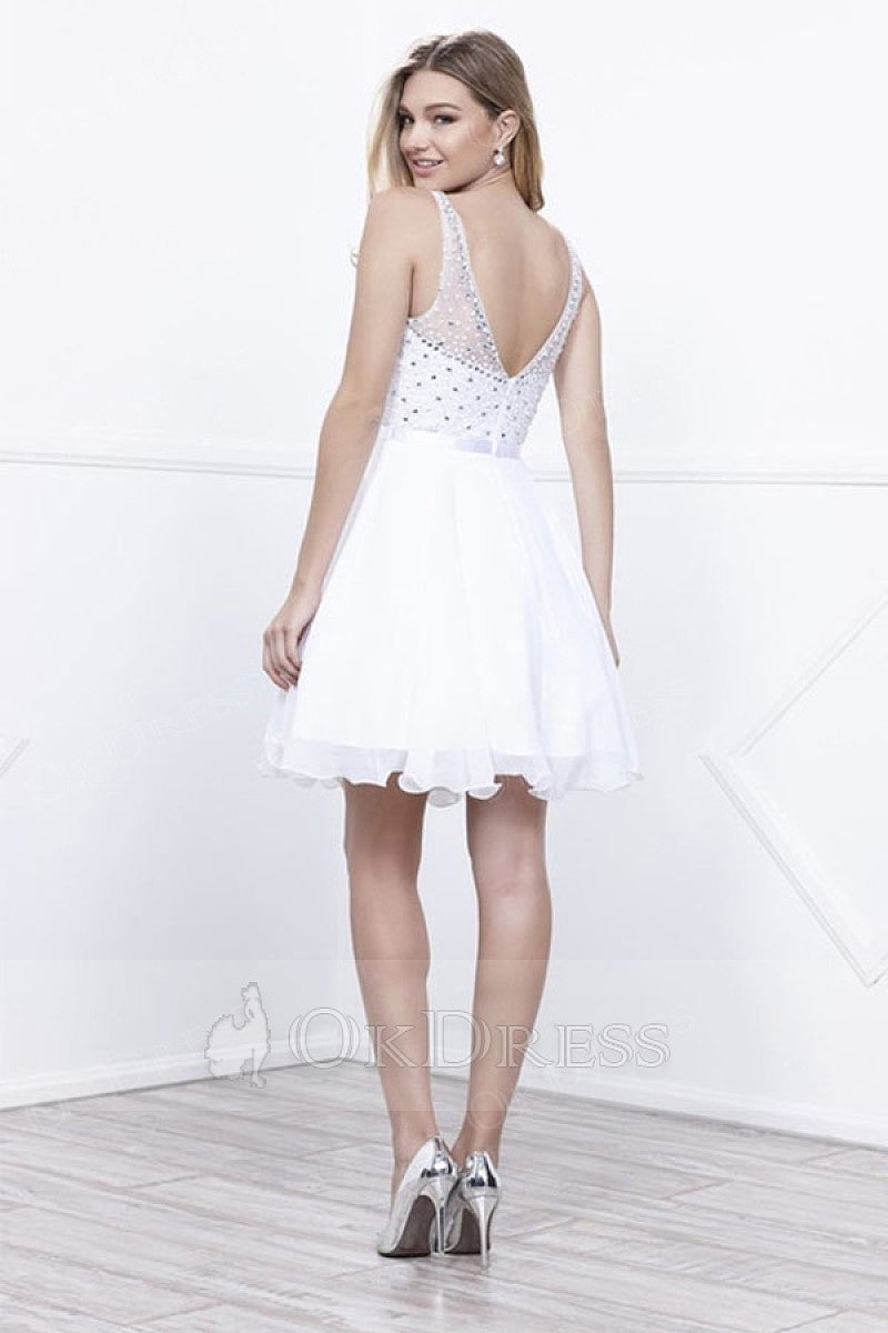 White A-line/Princess Sleeveless Beading Short Formal Cocktail Dresses