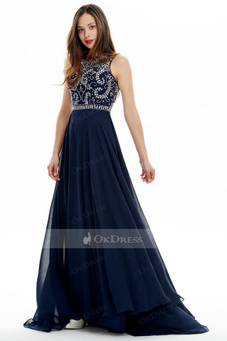 Dark Navy Hot Bateau Long Chiffon A-line Evening Dresses